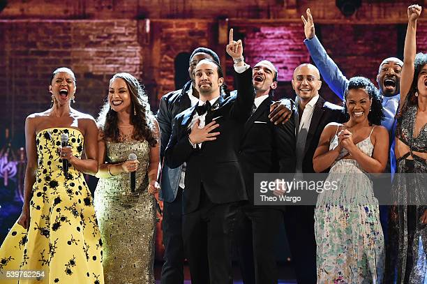 The cast of Hamilton performs onstage during the 70th Annual Tony Awards at The Beacon Theatre on June 12 2016 in New York City