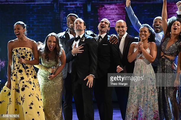 The cast of 'Hamilton' performs onstage during the 70th Annual Tony Awards at The Beacon Theatre on June 12 2016 in New York City