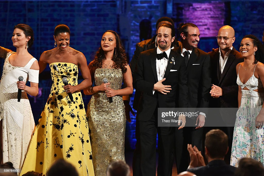 The cast of 'Hamilton' performs onstage during the 70th Annual Tony Awards at The Beacon Theatre on June 12, 2016 in New York City.