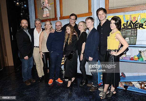 The cast of Hand to God Michael Oberholtzer Geneva Carr Bob Saget Steven Boyer Sarah Stiles pose with Ashley Olsen and guests on stage of 'Hand To...