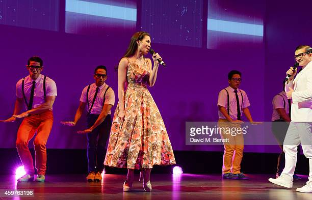 The cast of 'Here Lies Love' including Natalie Mendoza and Dean JohnWilson perform at the 60th London Evening Standard Theatre Awards at the London...