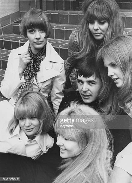 The cast of 'Here We Go Around the Mulberry Bush' with actor Barry Evans in the centre surrounded by Angela Scoular Sheila White Vanessa Howard...