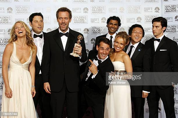 The cast of Heroes Actress Ali Larter actor Greg Grunberg actor Hugh Laurie with his Best Performance by an Actor in a Television Series Drama award...