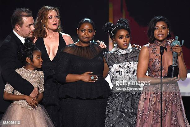 The cast of Hidden Figures accepts the award for Best Cast in a Motion Picture onstage during the 23rd Annual Screen Actors Guild Awards at The...