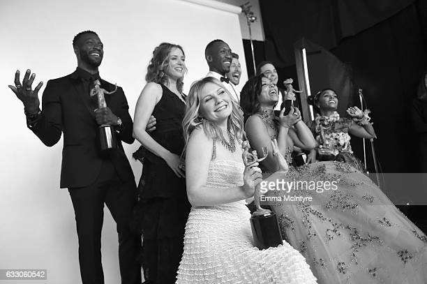 The cast of 'Hidden Figures' winners of Outstanding Performance by a Cast in a Motion Picture pose during The 23rd Annual Screen Actors Guild Awards...