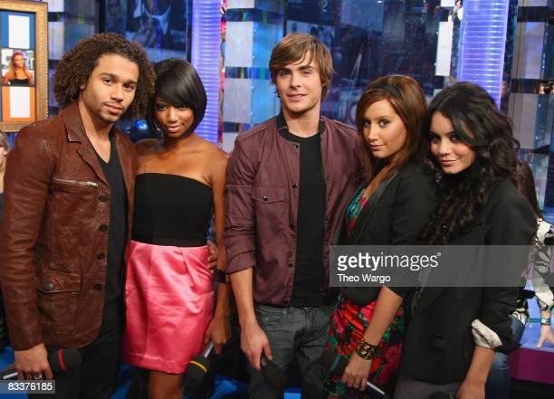 "The Cast of ""High School Musical 3"" - Corbin Bleu, Monique Coleman, Zac Efron, Ashley Tisdale and Vanessa Hudgens visit MTV's ""TRL"" at MTV studios in..."