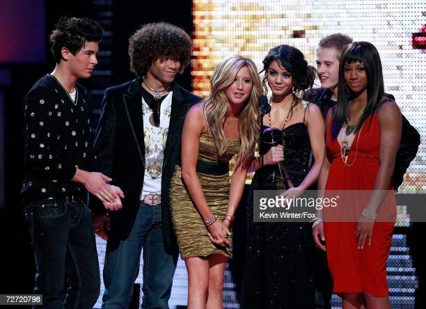The cast of High School Musical accept the award for Best Soundtrack onstage at the 2006 Billboard Music Awards at the MGM Grand Garden Arena...
