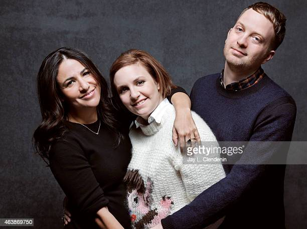 The cast of 'Hilary Its Me The Man Who Drew Eloise' Matt Wolf Lena Dunham and Jenni Konner pose for a portrait for the Los Angeles Times at the 2015...