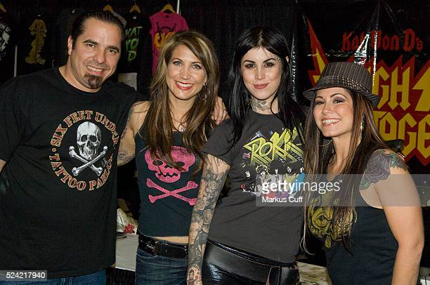 The cast of hit TLC show LA Ink Corey MillerHannah Aitchison Kat Von D and Kim Saigh are pictured at Von D's tattoo and music convention MUSINK in...