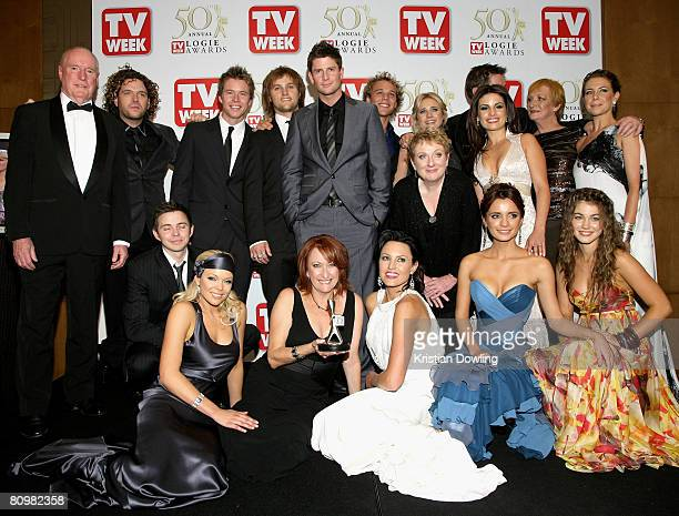 The cast of Home and Away pose with the Most Popular Australian Drama Award for Home and Away backstage in the Media Room at the 50th Annual TV Week...