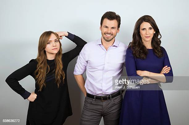 The cast of Hulu's 'Casual' Michaela Watkins Tommy Dewey and Tara Lynne Barr are photographed for Los Angeles Times on May 18 2016 in Los Angeles...