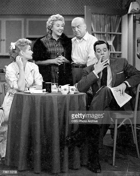 The cast of 'I Love Lucy,' 1956. From left, American actors Lucille Ball , Vivian Vance , William Frawley , and Cuban-born Desi Arnaz .