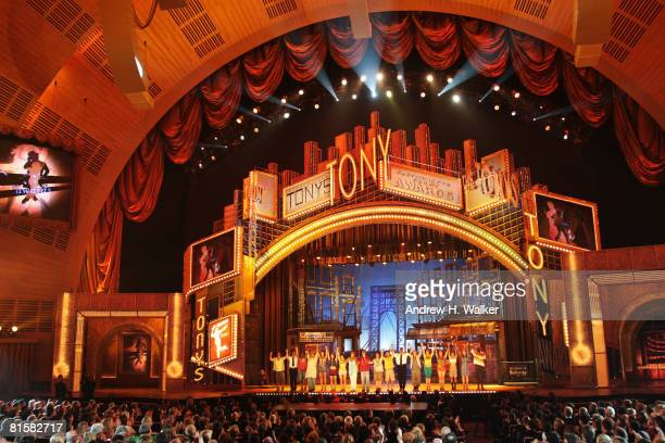The cast of 'In The Heights' performs onstage during the 62nd Annual Tony Awards held at Radio City Music Hall on June 15 2008 in New York City