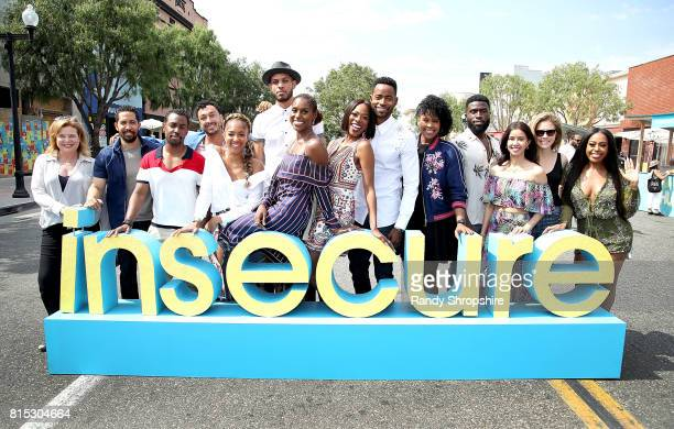 The cast of Insecure attends a block party celebrating HBO's new season of Insecure on July 15 2017 in Inglewood California