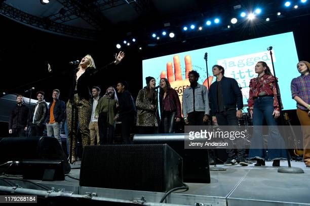 The cast of Jagged Little Pill performs onstage during the 5th Annual Elsie Fest Broadway's Outdoor Music Festival on October 05 2019 in New York City