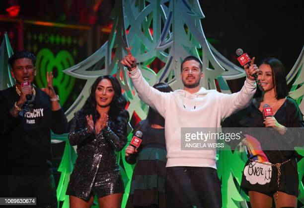 The cast of Jersey Shores Pauly D, Angelina Pivarnick, Deena Nicole , Vinny Guadagino and Jennifer Farley speak onstage during the Z100's iHeartRadio...