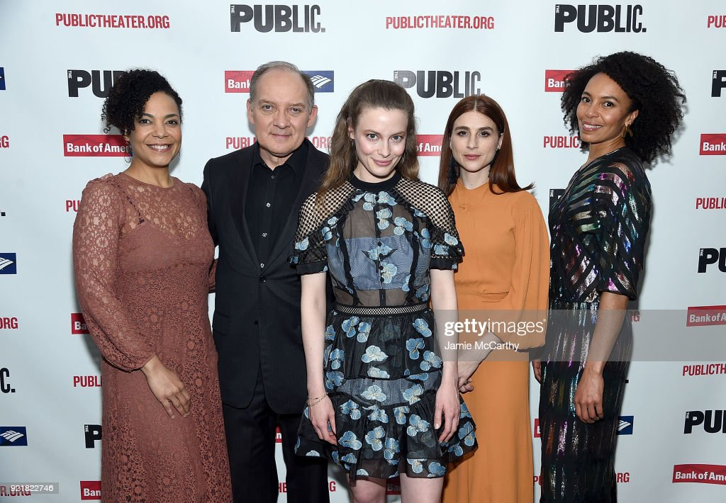 The Cast of 'Kings', Rachel Leslie, Zach Grenier, Gillian Jacobs, Aya Cash and Eisa Davis attend the 'Kings' Opening Night at The Public Theater on February 20, 2018 in New York City.