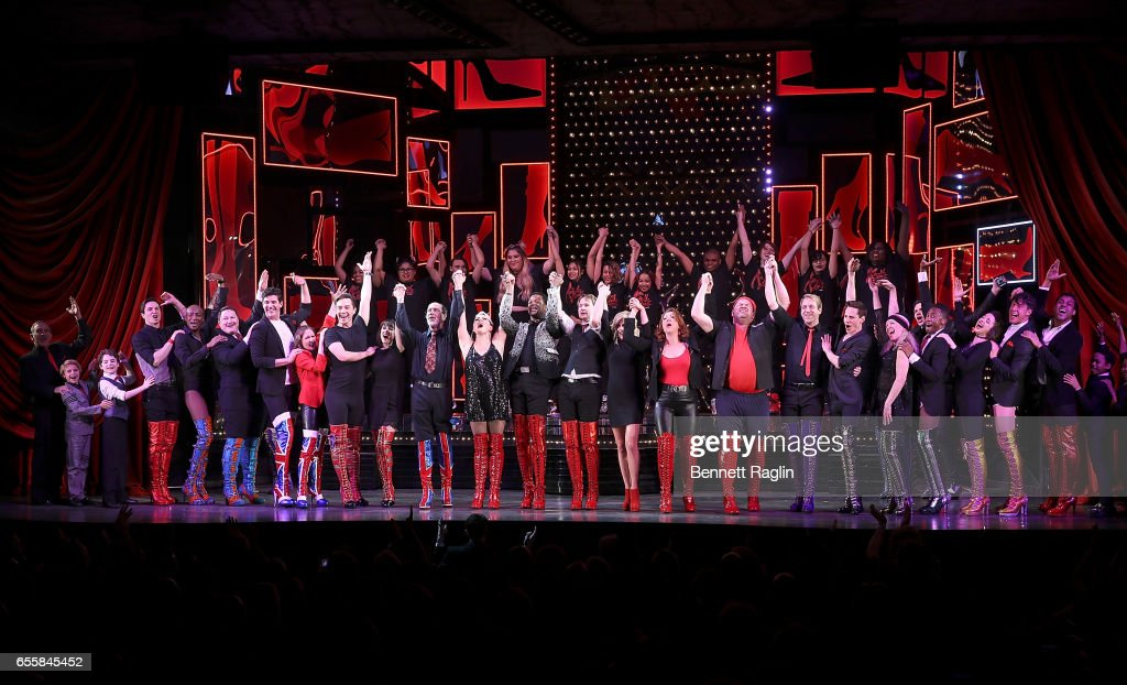 The cast of Kinky Boots and students from the Harvey Milk High School perform during the TDF Honors Broadway's 'Kinky Boots' Curtain Call at Al Hirschfeld Theatre on March 20, 2017 in New York City.