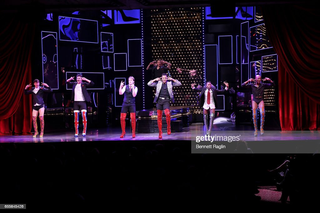 The cast of Kinky Boots perform during the TDF Honors Broadway's 'Kinky Boots' Curtain Call at Al Hirschfeld Theatre on March 20, 2017 in New York City.