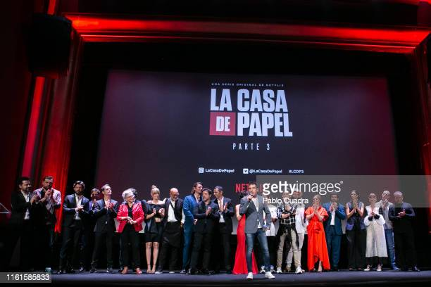 The cast of 'La Casa de papel' attend the red carpet of 'La Casa de papel' 3rd Season by Netflix at Callao cinema on July 11 2019 in Madrid Spain