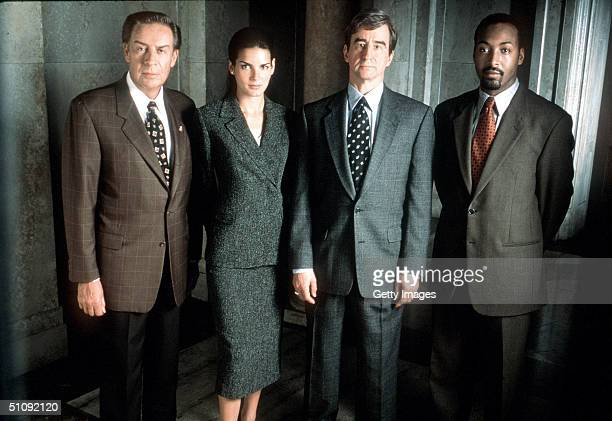 The Cast Of 'Law Order' From LR Jerry Orbach Angie Harmon Sam Waterston And Jesse L Martin November 1999