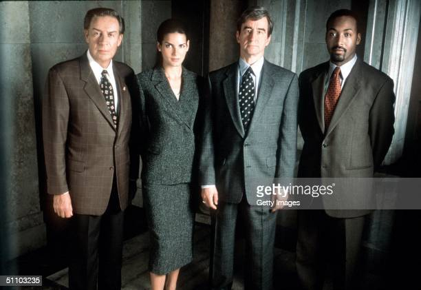 The Cast Of 'Law Order' From LR Jerry Orbach Angie Harmon Sam Waterston And Jesse L Martin 1999 Universal International Television