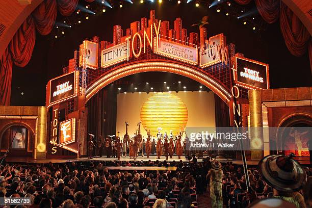 The cast of 'Lion King' performs onstage during the 62nd Annual Tony Awards held at Radio City Music Hall on June 15 2008 in New York City