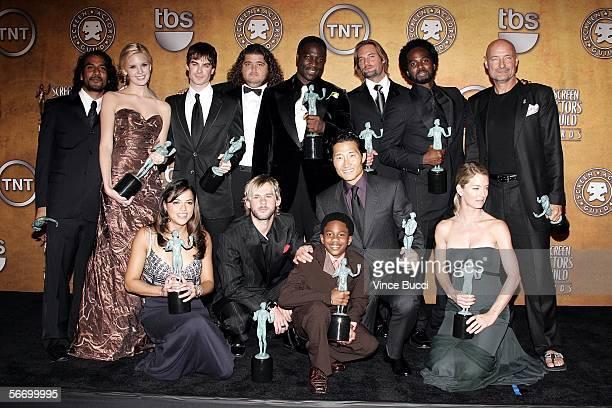 The cast of Lost Naveen Andrews Maggie Grace Ian Somerhalder Jorge Garcia Adewale AkinnuoyeAgbaje Josh Holloway Harold Perrineau and Terry O'Quinn...
