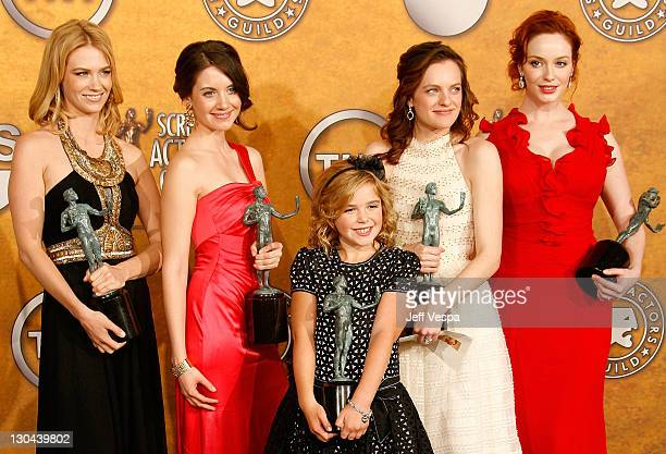 The cast of Mad Men January Jones Alison Brie Kiernan Shipka Elisabeth Moss and Christina Hendricks pose in the press room at the 15th Annual Screen...