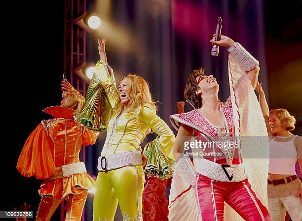 The cast of Mamma Mia at curtain call following their 5th Anniversary Celebratory Performance on October 18 2006 in New York City