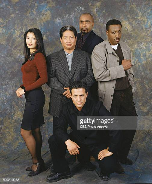 The cast of Martial Law from left Kelly Hu Sammo Hung Tom Wright Louis Mandylor and Arsenio Hall Image dated March 1 1999