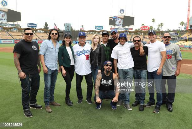 The Cast of Mayans MC attend The Los Angeles Dodgers Vs Arizona Diamondbacks Game at Dodger Stadium on September 2 2018 in Los Angeles California