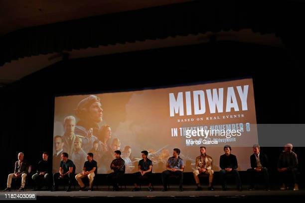 The cast of Midway attends a special screening at Joint Base Pearl HarborHickam on October 20 2019 in Honolulu Hawaii