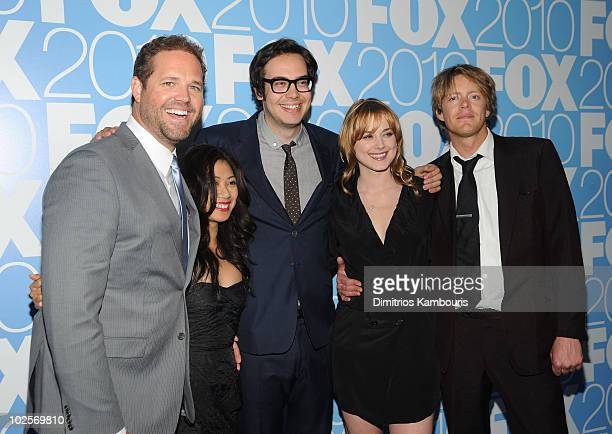 The cast of 'Mixed Signals' David Denman Liza Lapira Nelson Franklin and Alexandra Brekenridge and Kris Marshall attend the 2010 FOX Upfront after...