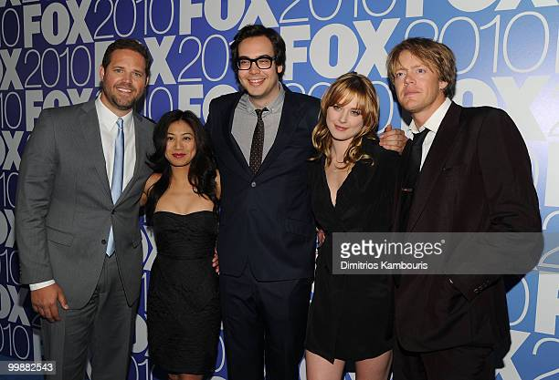 The cast of 'Mixed Signals' David Denman Liza Lapira Nelson Franklin and Alexandra Brekenridge attend the 2010 FOX Upfront after party at Wollman...