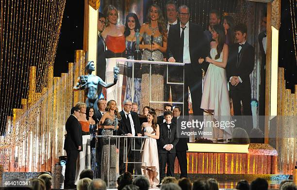 The cast of 'Modern Family' on stage at the 20th Annual Screen Actors Guild Awards at The Shrine Auditorium on January 18, 2014 in Los Angeles,...