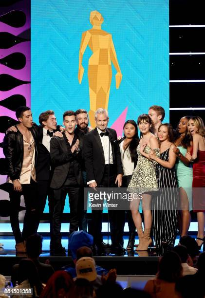 The cast of 'Mr Student Body President' onstage during the 2017 Streamy Awards at The Beverly Hilton Hotel on September 26 2017 in Beverly Hills...