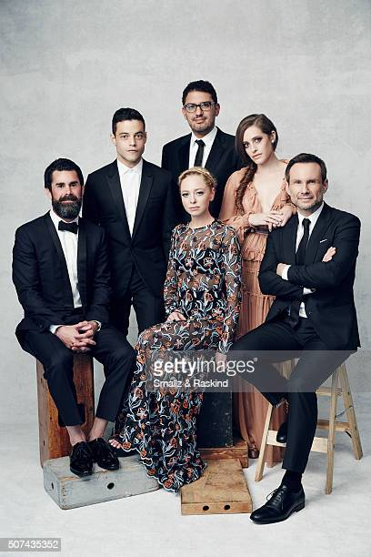 The cast of 'MrRobot' Producer Chad Hamilton Rami Malik Sam Esmail Portia Doubleday Carly Chaikin and Christian Slater pose for a portrait during the...