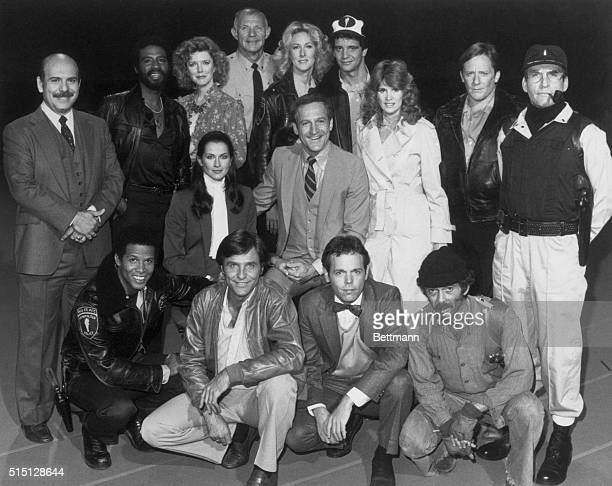 The Cast Of NBCTV's Hill Street Blues In front are L to R Michael Warren Kiel Martin Joe Spano and Bruce Weitz Seated in center are Veronica Hamel...