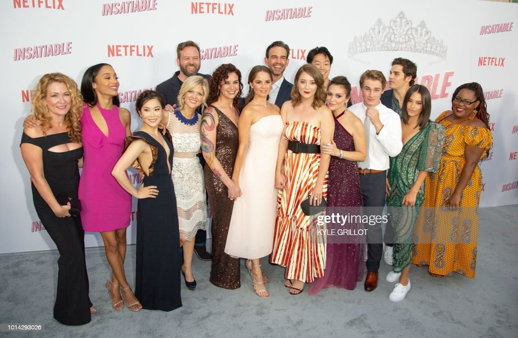 The cast of Netflix's 'Insatiable' attend the Premiere of Netflix's 'Insatiable' Season 1 at the ArcLight Hollywood theater in Los Angeles, California, on August 9, 2018.