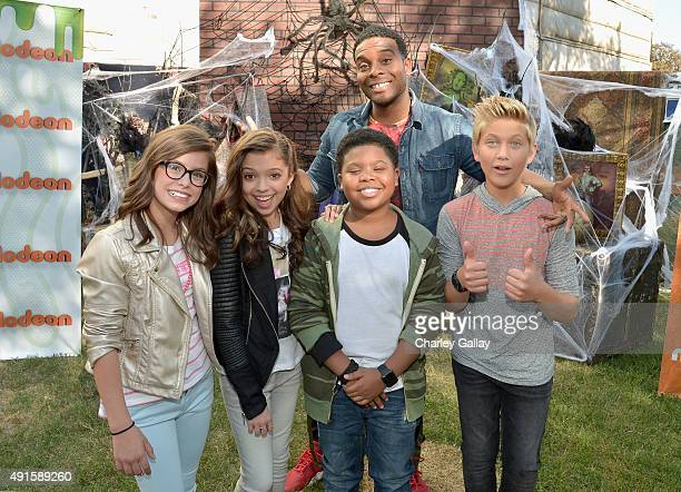 The cast of Nickelodeon's Game Shakers greet kids and fans at a special Halloweenthemed event at the Nickelodeon Animation Studio in Burbank Calif...