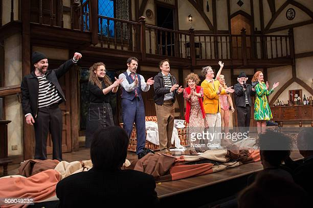The cast of Noises Off perform onstage during Noises Off Broadway opening night at American Airlines Theatre on January 14 2016 in New York City