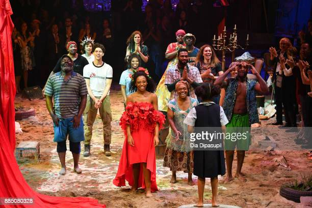 The cast of 'Once On This Island' take their curtain call during the Broadway Opening Night at Circle in the Square Theatre on December 3 2017 in New...