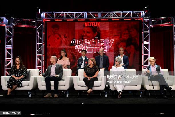 The cast of 'One Day at a Time' onstage during Netflix TCA 2018 at The Beverly Hilton Hotel on July 29 2018 in Beverly Hills California