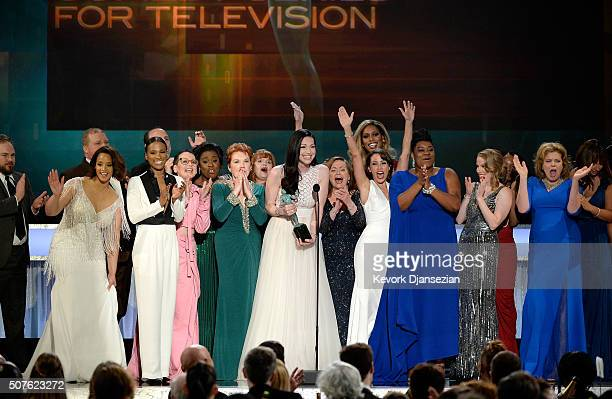 The cast of 'Orange Is the New Black' including actors Vicky Jeudy Lori Petty Uzo Aduba Kate Mulgrew Annie Golden Laura Prepon Dale Soules Laverne...