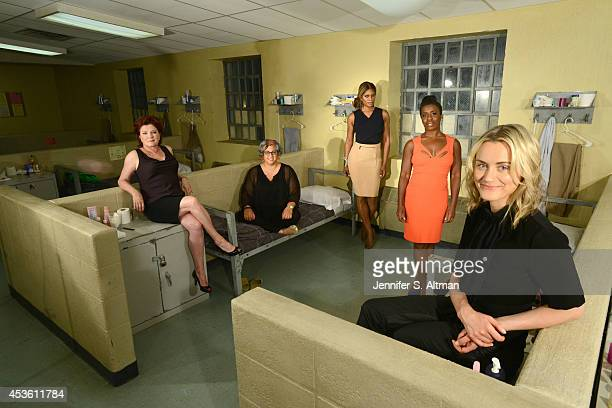 The cast of Orange is the New Black Kate Mulgrew creator Jenji Kohan Laverne Cox Uzo Aduba and Taylor Schilling are photographed for Los Angeles...