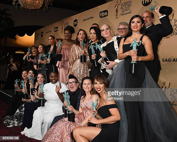 The cast of 'Orange is the New Black' winners of the Outstanding Ensemble in a Comedy Series award of 'Orange Is the New Blackposes in the press room...