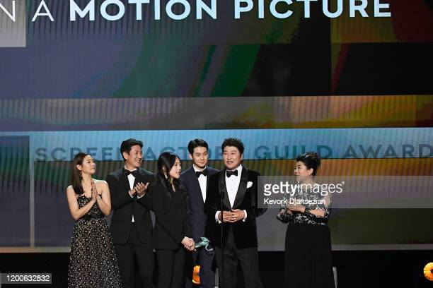 The cast of Parasite accepts the Cast in a Motion Picture award onstage during the 26th Annual Screen ActorsGuild Awards at The Shrine Auditorium on...