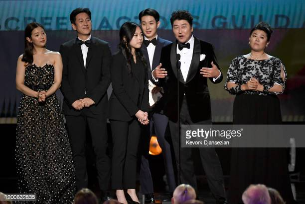 The cast of Parasite accepts the Cast in a Motion Picture award onstage during the 26th Annual Screen Actors Guild Awards at The Shrine Auditorium on...
