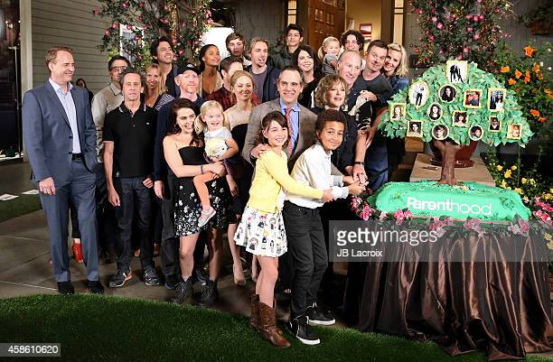 The cast of 'Parenthood' pose at NBC's 'Parenthood' 100th episode cakecutting ceremony at Universal Studios on November 7 2014 in Universal City...